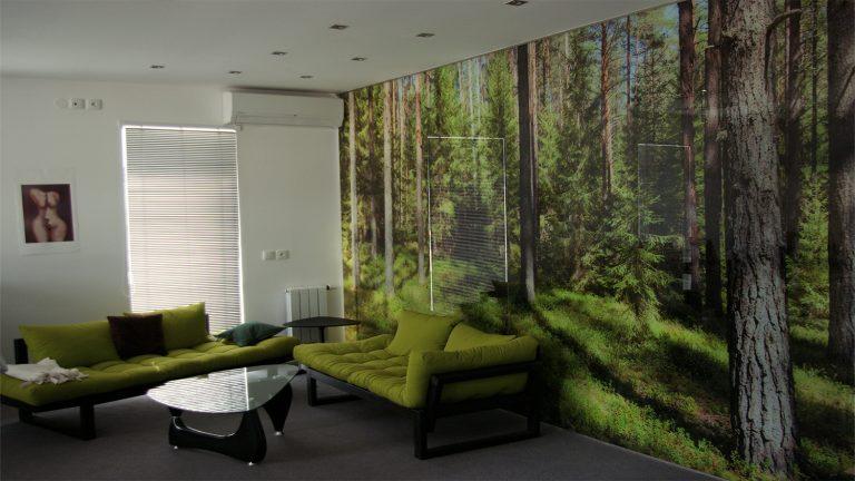 Skleněná stěna s motivem lesa